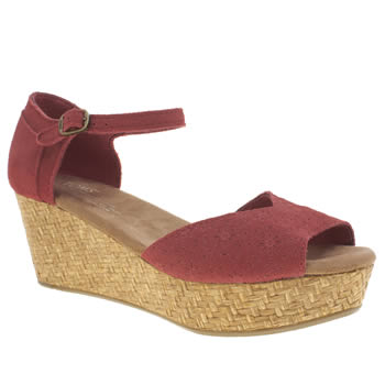 Toms Red Platform Wedge Sandals