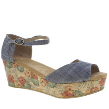 Toms Navy Platform Wedge Chambray Sandals