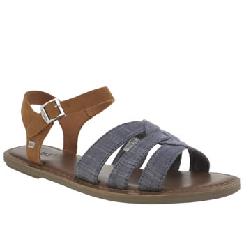Toms Brown & Navy Zoe Chambray Sandals