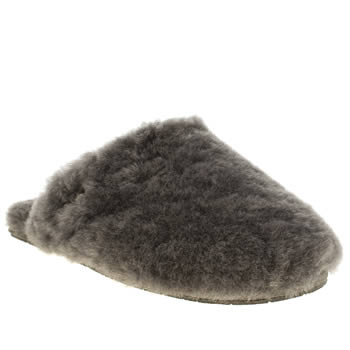 Womens Ugg Australia Grey Fluff Clog Slippers