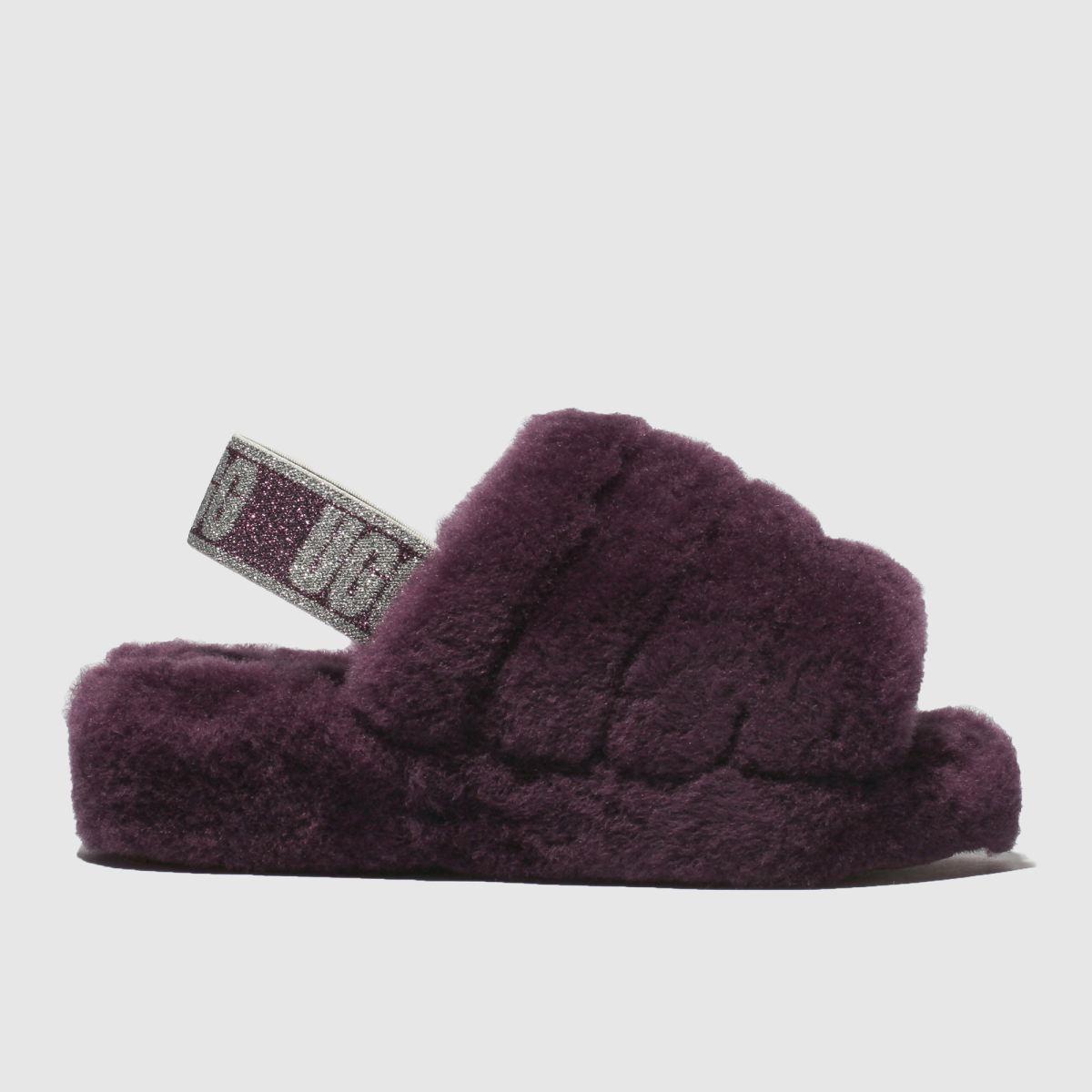 Ugg Burgundy Fluff Yeah Slide Sandals