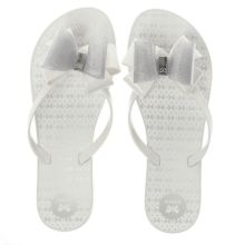 Zaxy White & Silver Link Twin Bow Womens Sandals