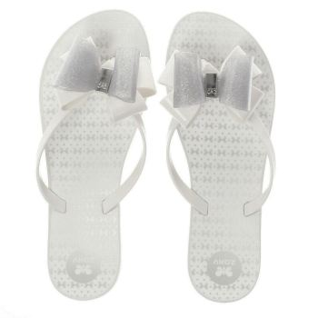 Zaxy White Link Twin Bow Womens Sandals
