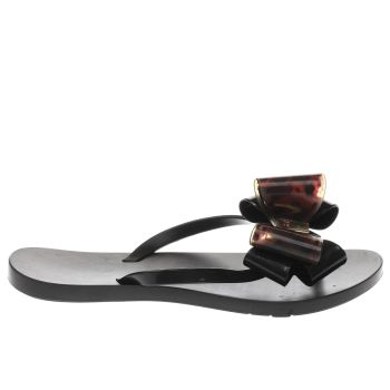 ZAXY BLACK & BROWN LINK TWIN BOW SANDALS