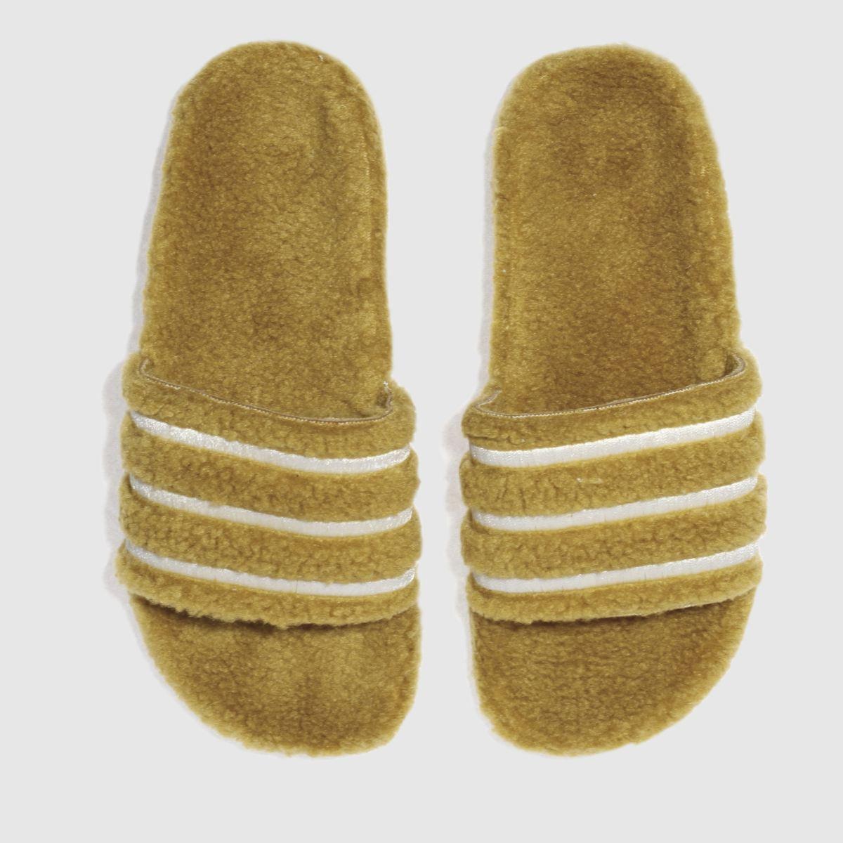 adidas mustard adilette teddy sandals
