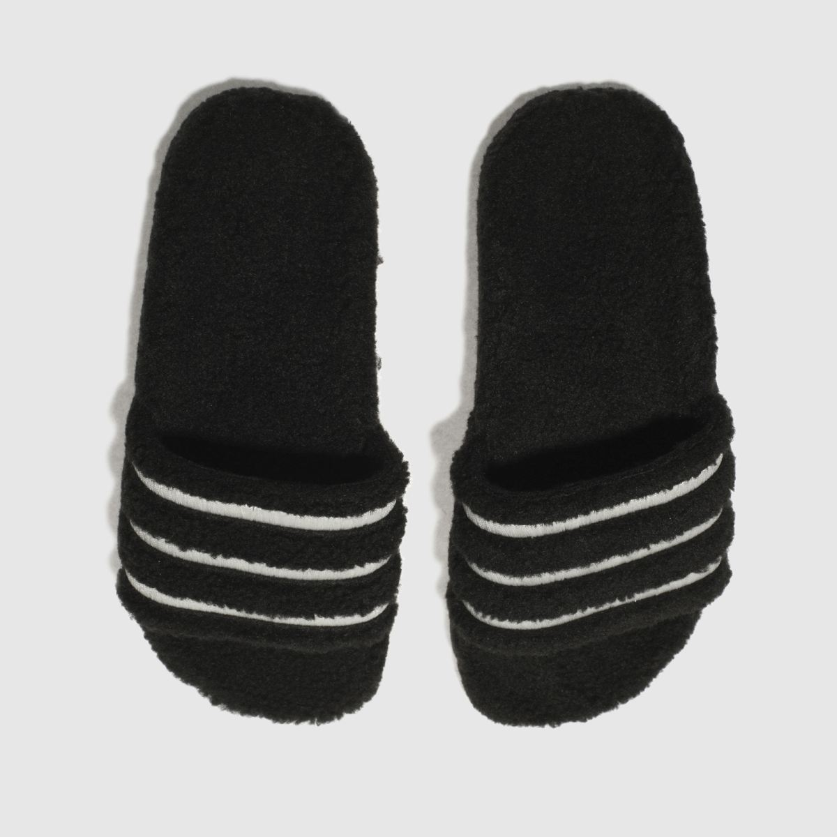 adidas black & white adilette teddy sandals