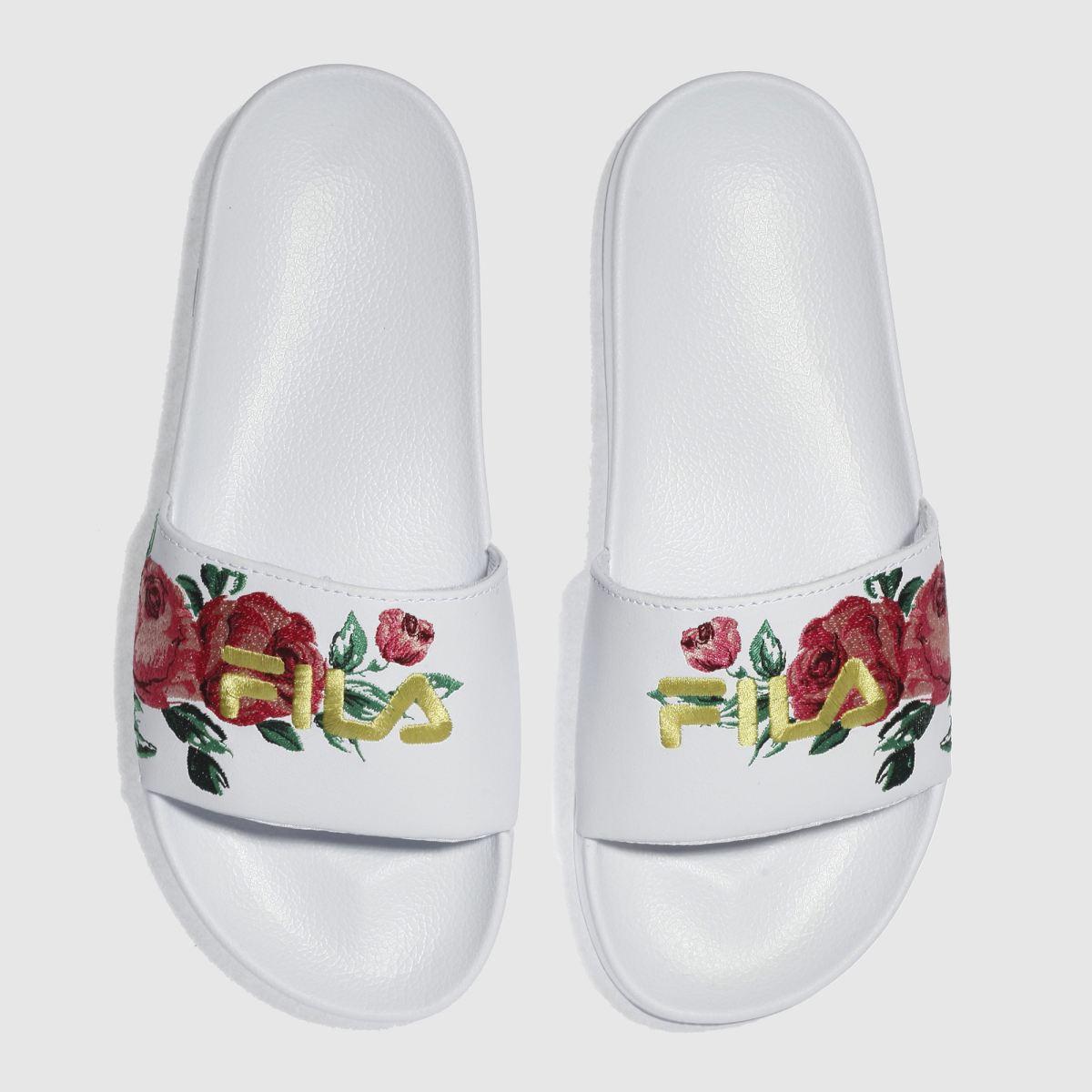 Fila Fila White & Pink Drifter Embroidery Sandals