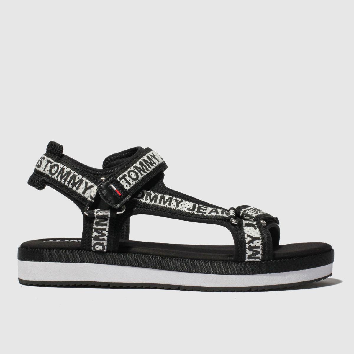 Tommy Hilfiger Black & White Tj Mesh Webbing Sporty Sandal Sandals