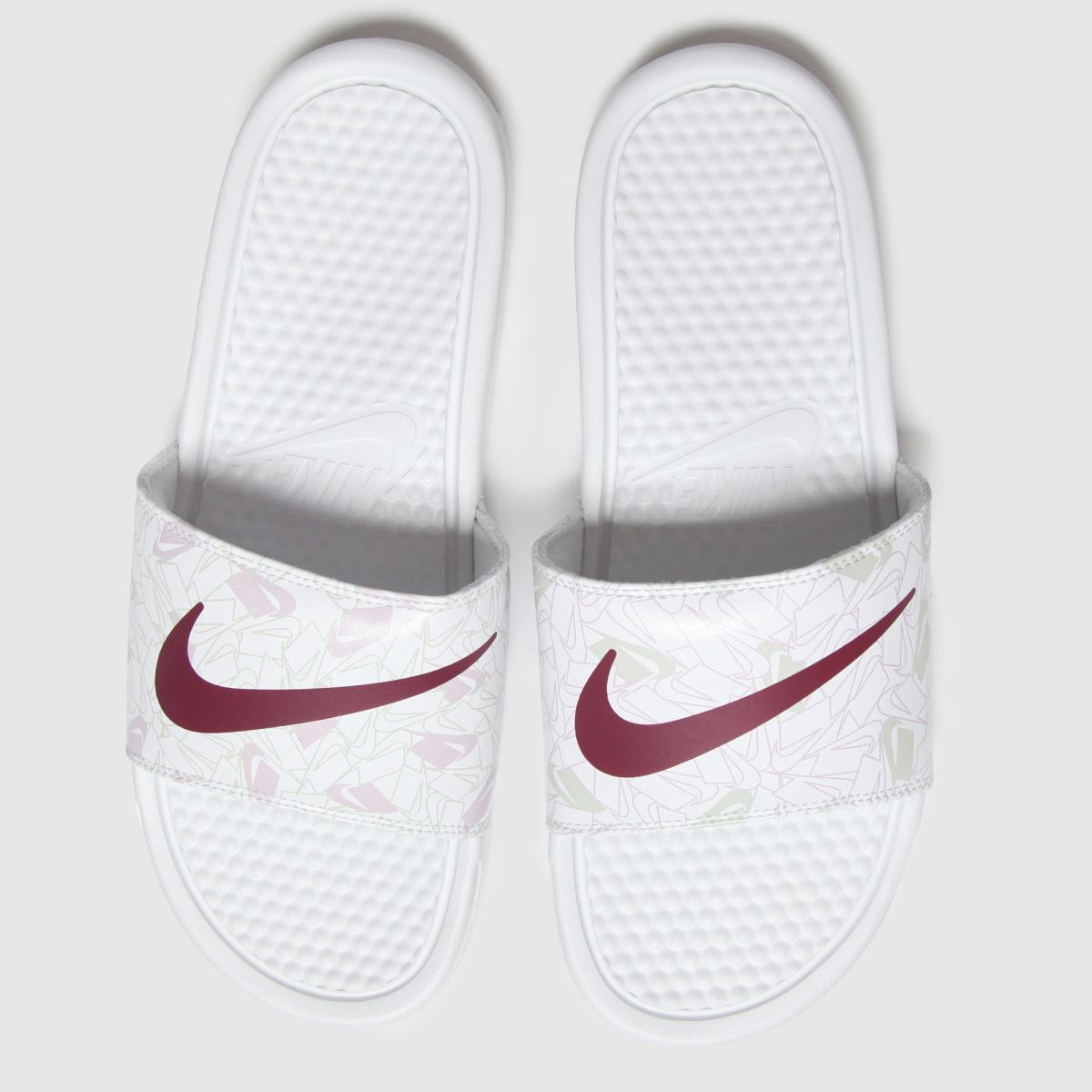 Nike Nike White & Red Benassi Jdi Sandals