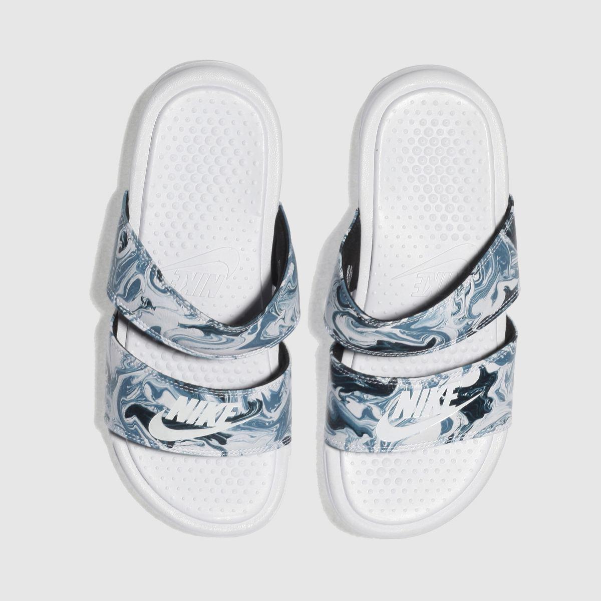 Nike White & Pl Blue Benassi Duo Ultra Slide Sandals