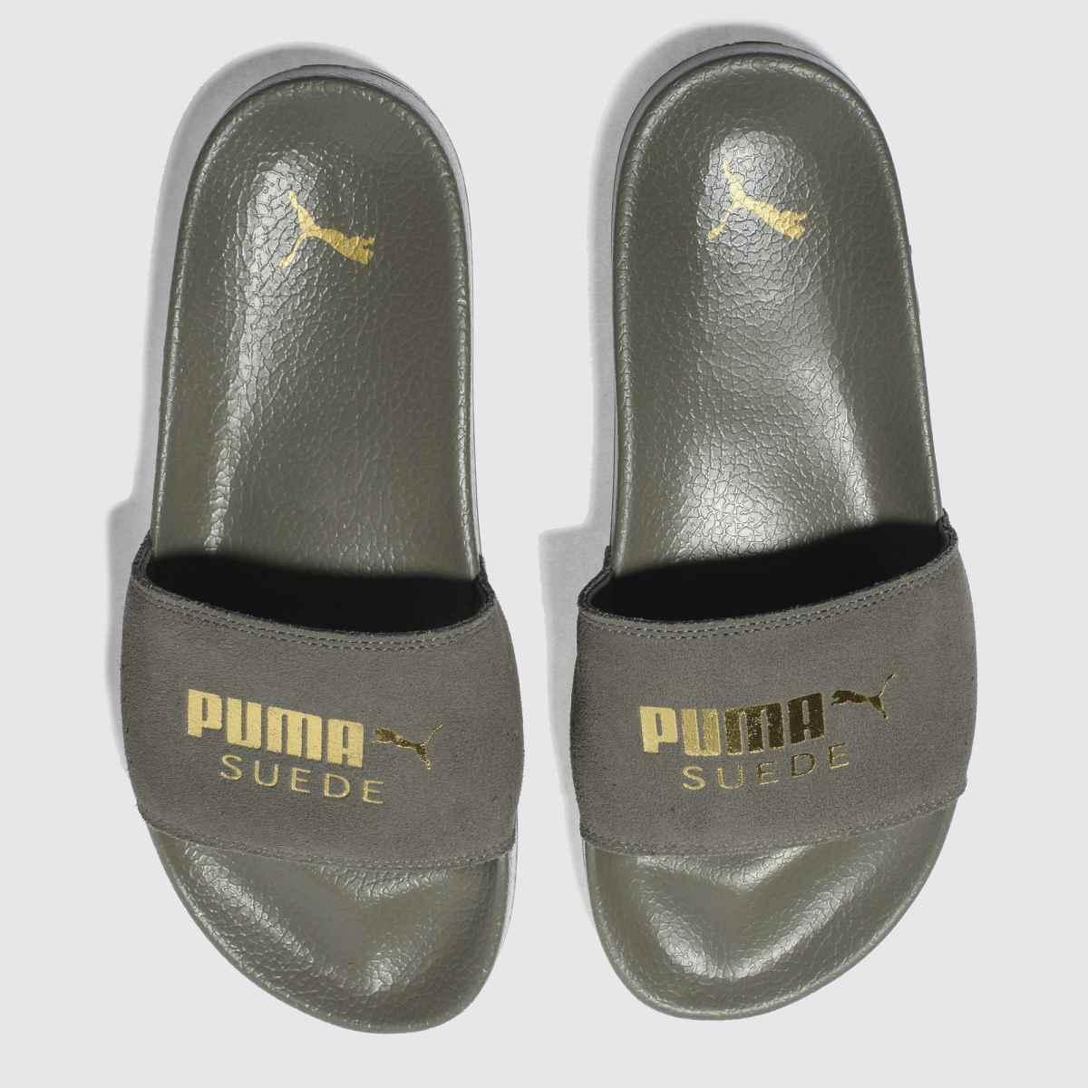 puma khaki leadcat suede sandals