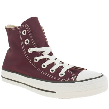 womens converse burgundy all star hi trainers