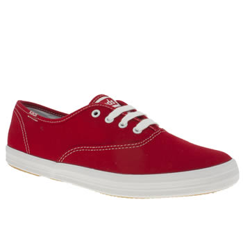 womens keds red champion lace trainers