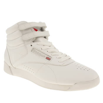 Reebok White & grey Freestyle Hi Womens Trainers