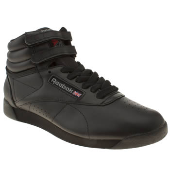womens reebok black freestyle hi trainers
