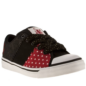 womens babycham black & red phoebe star patchwork trainers