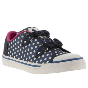 womens babycham navy & white sina bow trainers