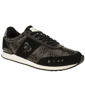womens babycham black & white maya glitter trainers