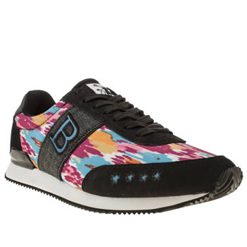 womens babycham black and blue maris ikat trainers
