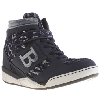 Womens Babycham Navy & White Giselle Wedge Trainers