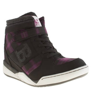 Womens Babycham Black & Purple Giselle Wedge Trainers