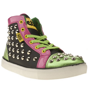 womens cute to the core black & green vivid stud trainers