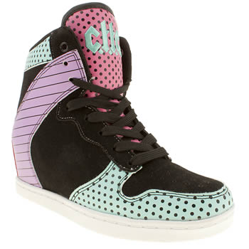 womens cute to the core black & pink clutch funky trainers