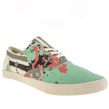 womens bucketfeet green & stone bad panda lace trainers