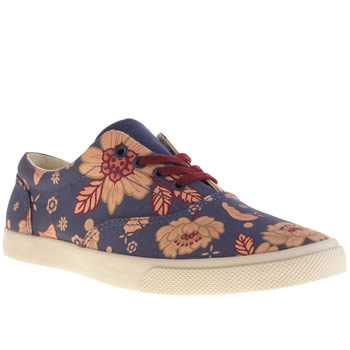 Womens Bucketfeet Navy Blue East Lace Trainers