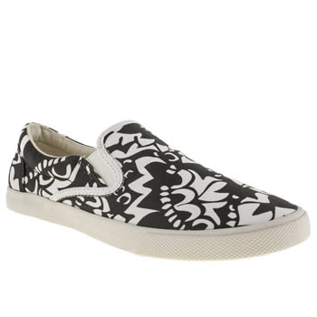 womens bucketfeet black & white aspara slip trainers