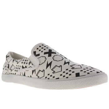 Bucketfeet White & Black Monogram Slip Trainers
