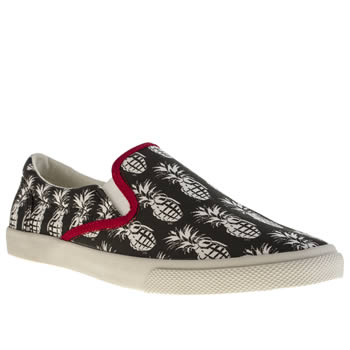 Womens Bucketfeet Black & White Pineappleade Slip Trainers