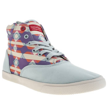 Womens Bucketfeet White & Blue Roadtrip Mid Trainers