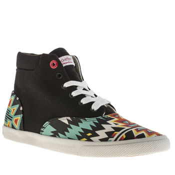Womens Bucketfeet Black & White Archer Mid Trainers
