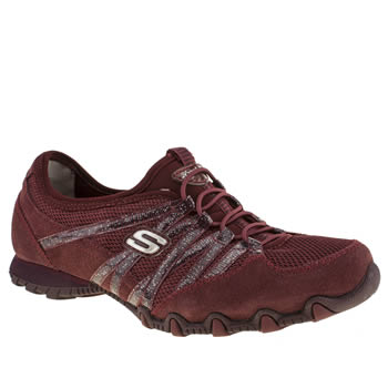 Womens Skechers Burgundy Bikers Hot Ticket Trainers