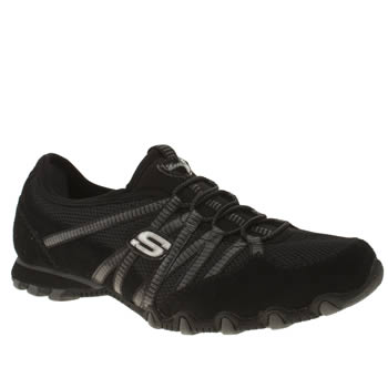 Womens Skechers Black Bikers Hot Ticket Trainers
