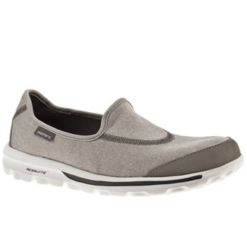 womens skechers grey go walk trainers