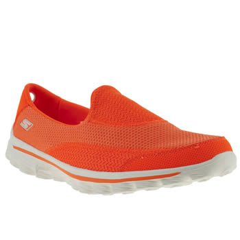 womens skechers orange gowalk 2 trainers