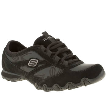 Womens Skechers Black Bikers Embroidery Trainers