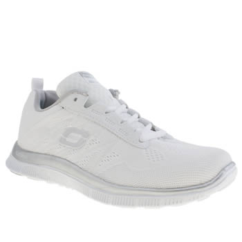 Skechers White & Silver Flex Appeal Sweet Trainers