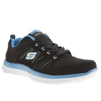 womens skechers black and blue flex appeal spring fever trainers