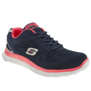 Skechers Navy & White Flex Appeal Love Trainers