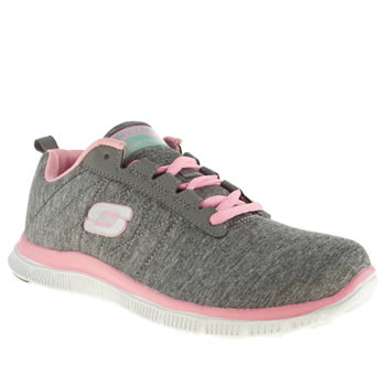womens skechers light grey flex appeal next generation trainers