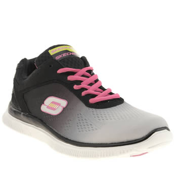 Womens Skechers Black & Grey Flex Appeal Style Icon Trainers