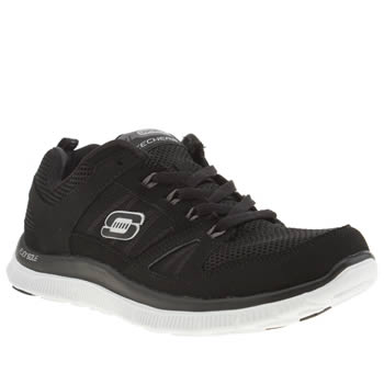 womens skechers black & white flex appeal spring fever trainers