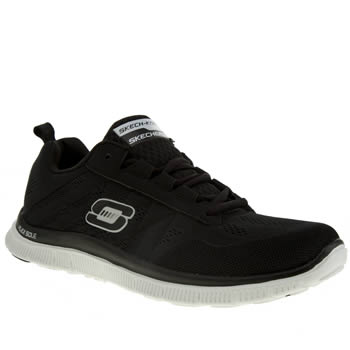 Womens Skechers Black & White Flex Appeal Sweet Trainers