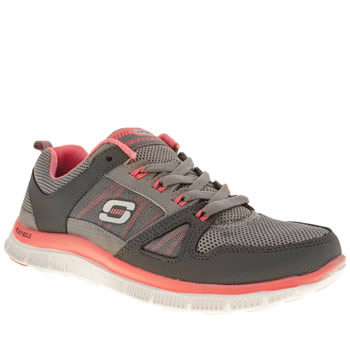 womens skechers grey flex appeal spring fever trainers