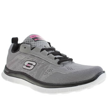 Womens Skechers Grey & Black Flex Appeal Love Your Style Trainers