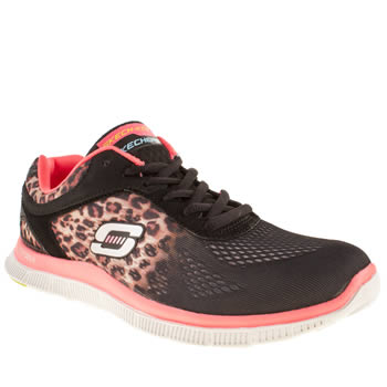 Womens Skechers Black & Brown Flex Appeal Serengeti Trainers