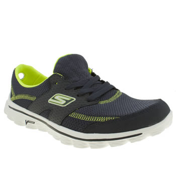 womens skechers navy & green go walk 2 stance trainers